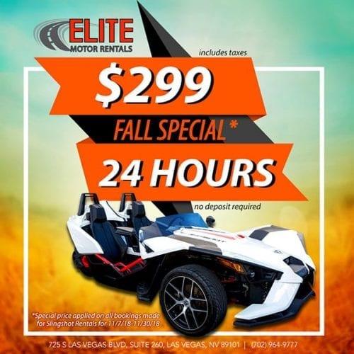 $299 Fall Special, Elite Motor Rentals
