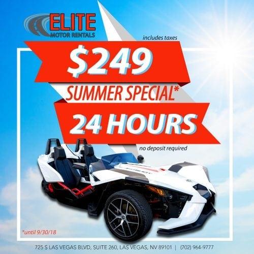 24 Hours Summer Special $249! Elite Motor Rentals, Polaris Slingshot Rental