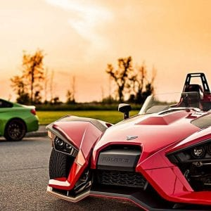 Slingshot with red sky