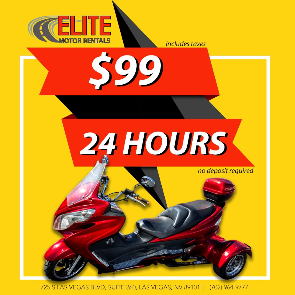 Polaris slingshot rentals las vegas elite motor rentals for Motorized scooter rental las vegas